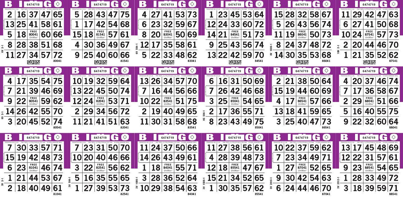 UniMax 18H Purple CMYK Bingo Paper/UniMax Cuts/18H Cuts
