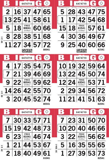 UniMax 6V Red CMYK Bingo Paper/UniMax Cuts/6V Cuts