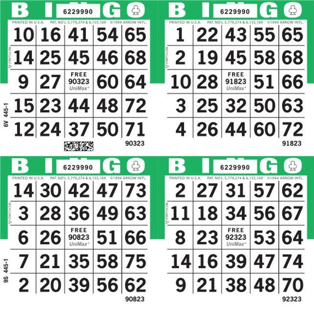 UniMax 4S Green CMYK Bingo Paper/UniMax Cuts/4S Cuts