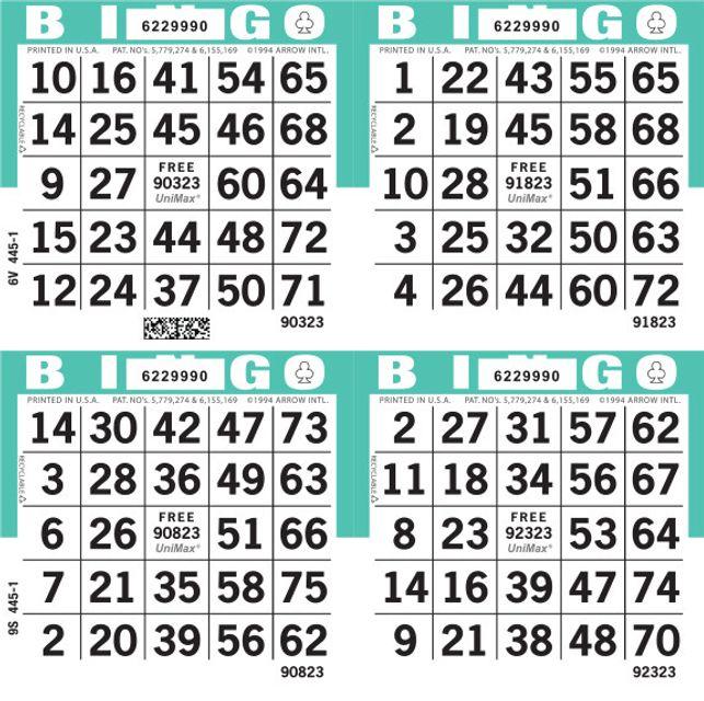 UniMax 4S Aqua CMYK Bingo Paper/UniMax Cuts/4S Cuts