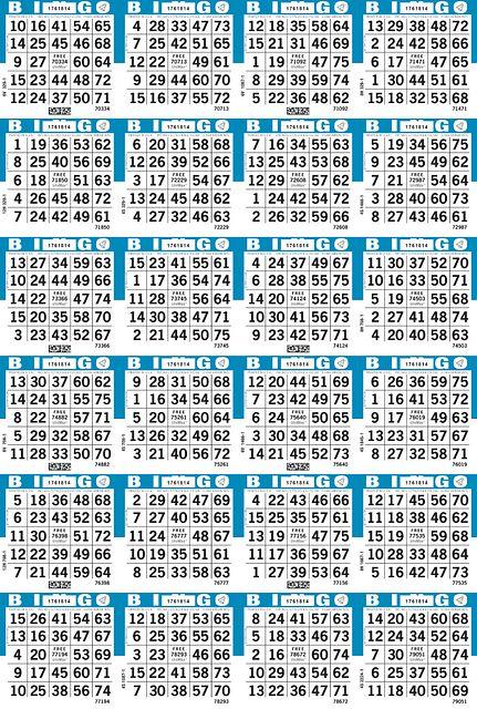 UniMax 24V4 Blue CMYK Bingo Paper/UniMax Cuts/24V Cuts