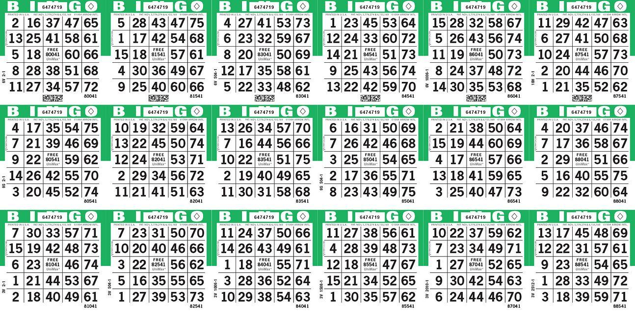 UniMax 18H Green CMYK Bingo Paper/UniMax Cuts/18H Cuts