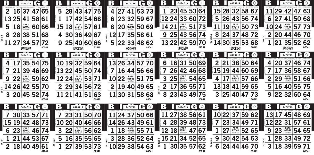 UniMax 18H Black CMYK Bingo Paper/UniMax Cuts/18H Cuts
