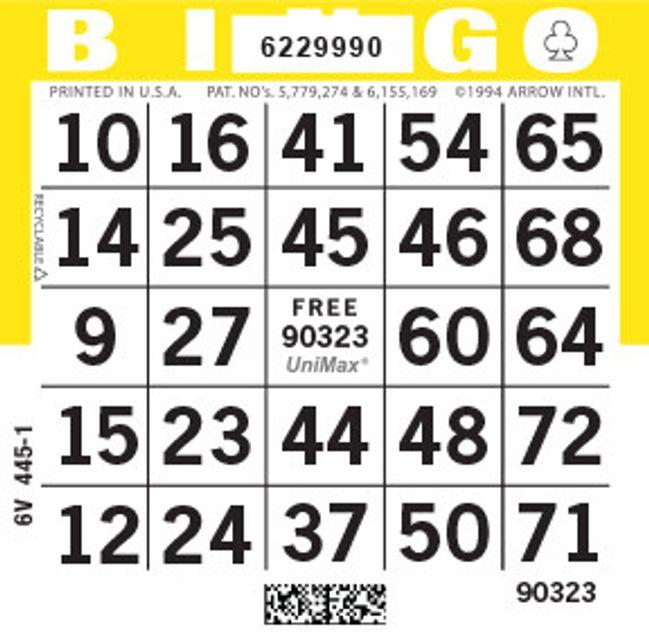 UniMax 1ON Yellow CMYK Bingo Paper/UniMax Cuts/1ON Cuts