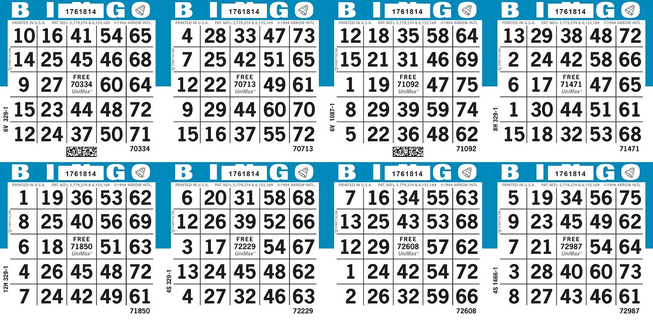 UniMax 8H4 Blue CMYK Bingo Paper/UniMax Cuts/8H Cuts