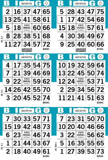 UniMax 6V Blue CMYK Bingo Paper/UniMax Cuts/6V Cuts