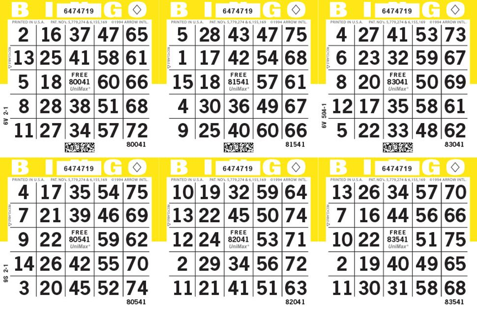 UniMax 6H Yellow CMYK Bingo Paper/UniMax Cuts/6H Cuts