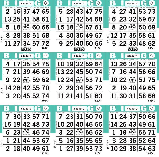 UniMax 9S Aqua CMYK Bingo Paper/UniMax Cuts/9S Cuts
