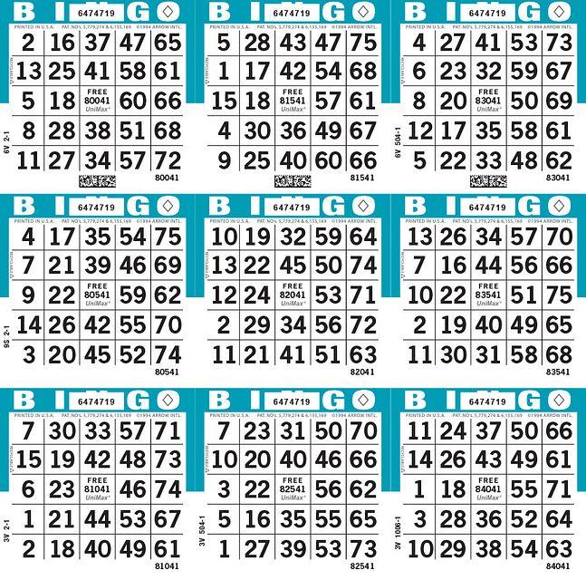 UniMax 9S Blue CMYK Bingo Paper/UniMax Cuts/9S Cuts