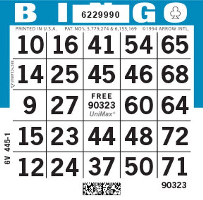 UniMax 1ON Blue CMYK Bingo Paper/UniMax Cuts/1ON Cuts