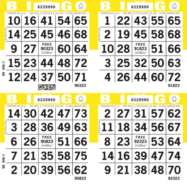 UniMax 4S Yellow CMYK Bingo Paper/UniMax Cuts/4S Cuts