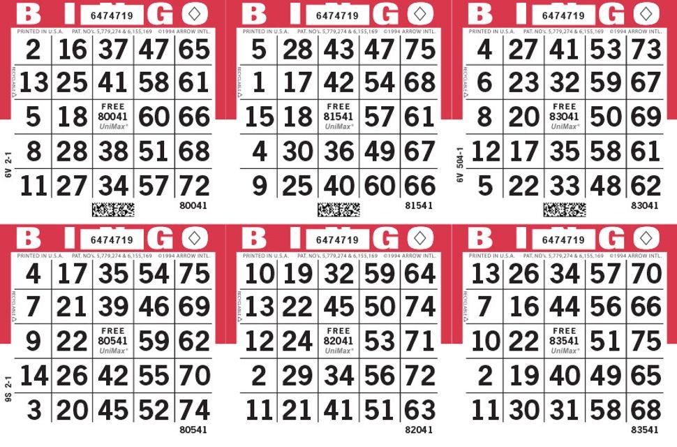 UniMax 6H Red CMYK Bingo Paper/UniMax Cuts/6H Cuts