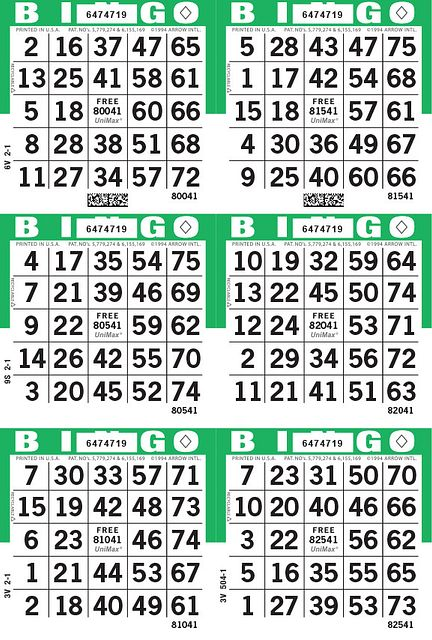 UniMax 6V Green CMYK Bingo Paper/UniMax Cuts/6V Cuts