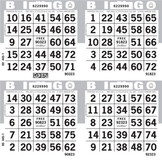 UniMax 4S Gray CMYK Bingo Paper/UniMax Cuts/4S Cuts