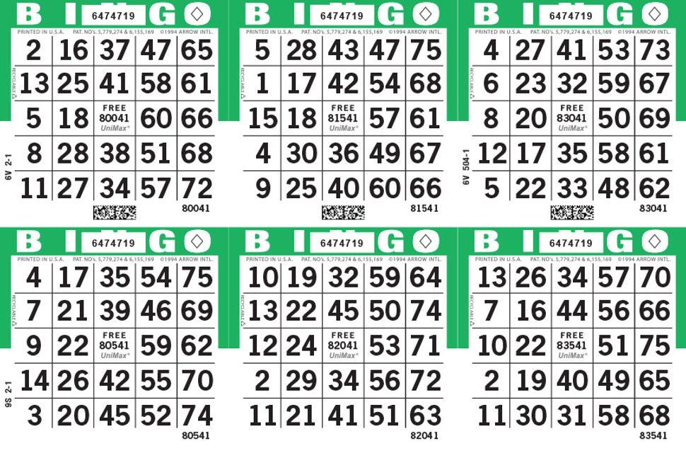 UniMax 6H Green CMYK Bingo Paper/UniMax Cuts/6H Cuts