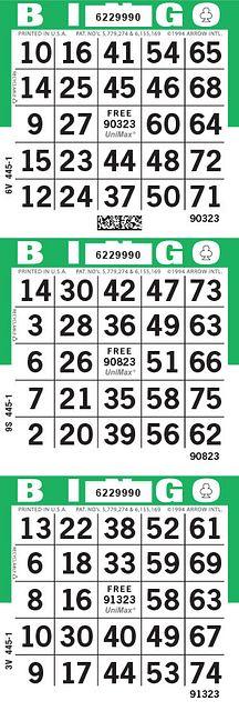 UniMax 3V Green CMYK Bingo Paper/UniMax Cuts/3V Cuts