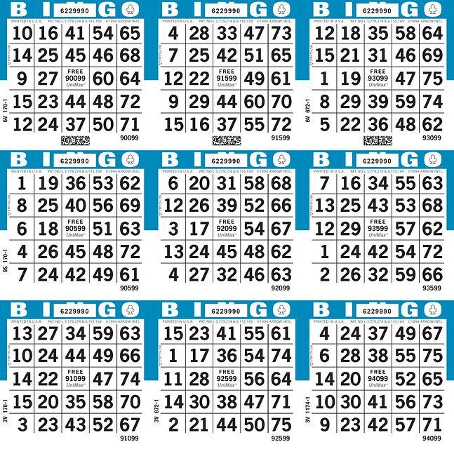 UniMax 9S3 Blue CMYK Bingo Paper/UniMax Cuts/9S Cuts