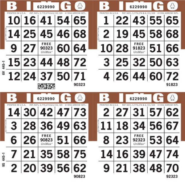 UniMax 4S Brown CMYK Bingo Paper/UniMax Cuts/4S Cuts