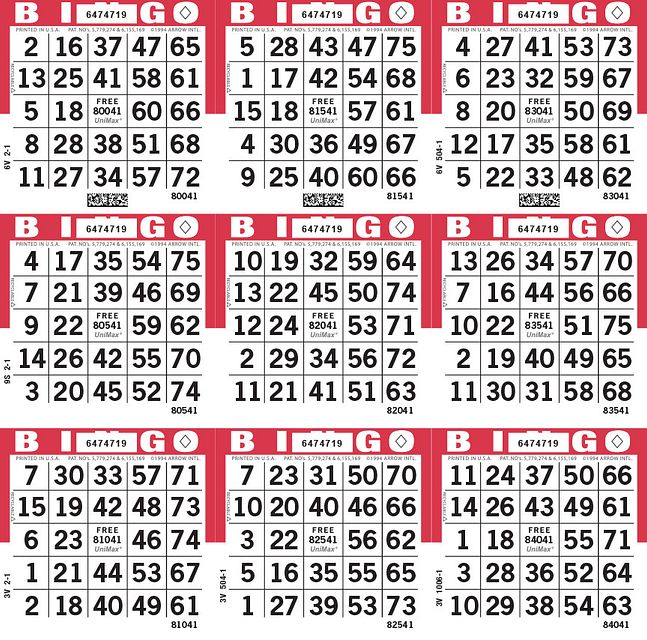 UniMax 9S Red CMYK Bingo Paper/UniMax Cuts/9S Cuts