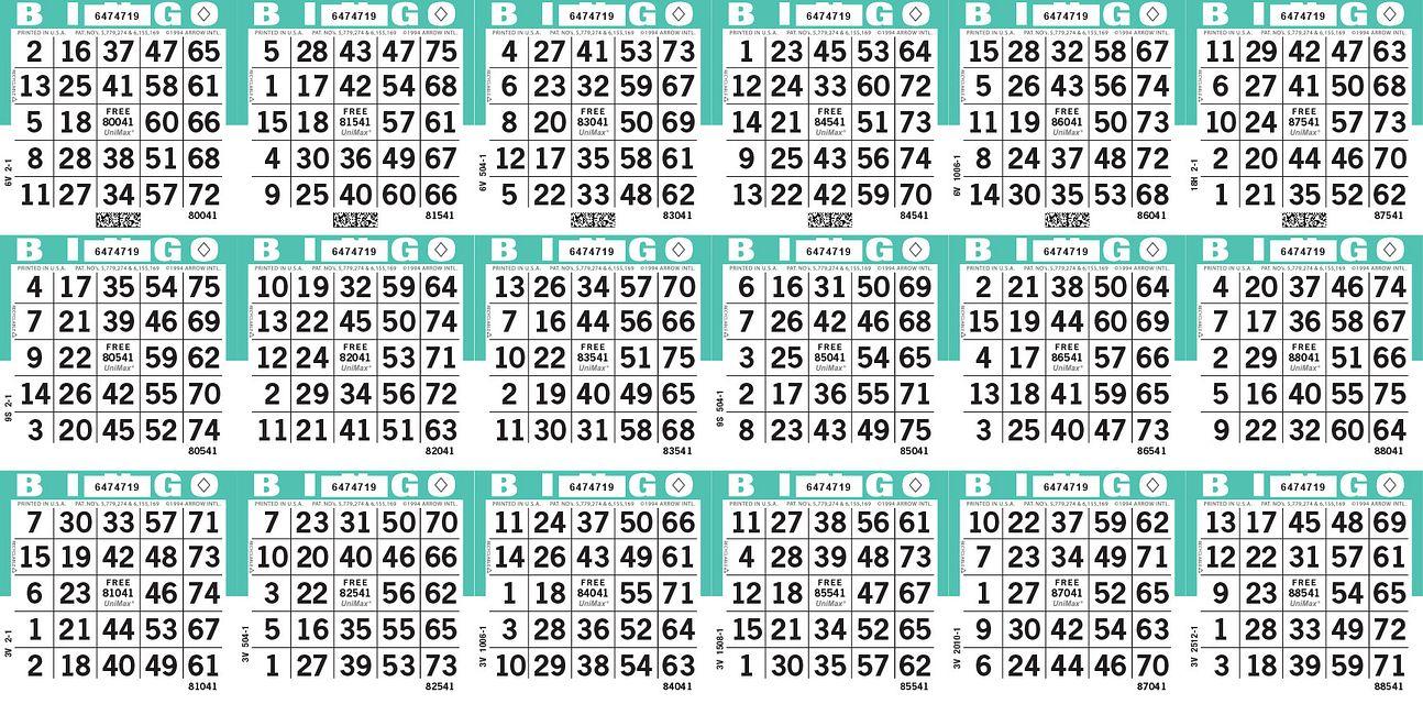 UniMax 18H Aqua CMYK Bingo Paper/UniMax Cuts/18H Cuts