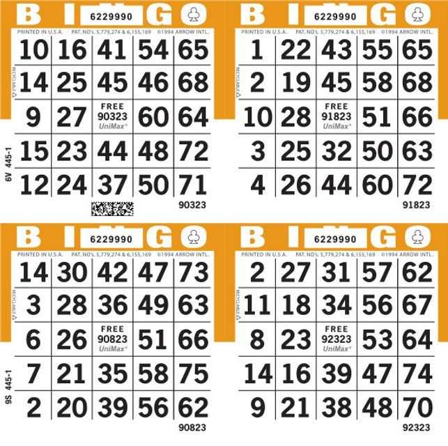 UniMax 4S Orange CMYK Bingo Paper/UniMax Cuts/4S Cuts