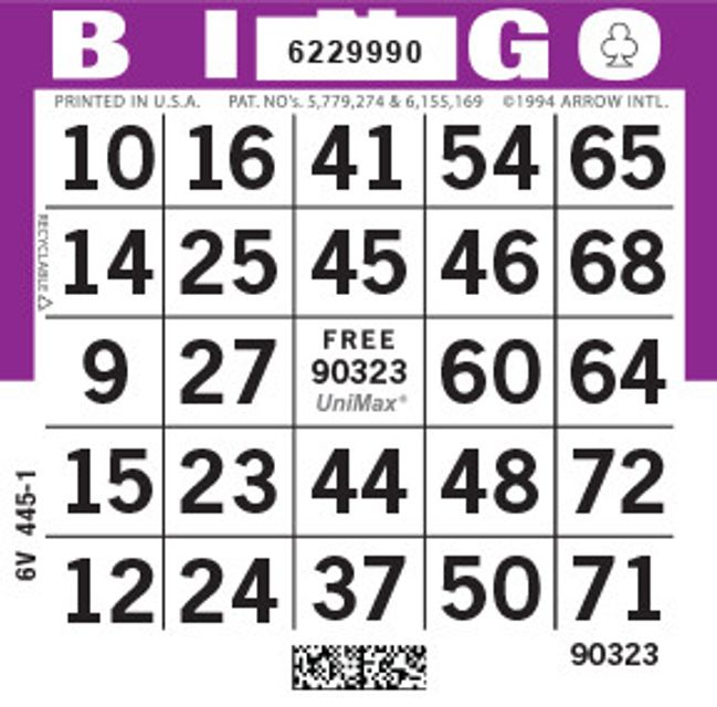 UniMax 1ON Purple CMYK Bingo Paper/UniMax Cuts/1ON Cuts