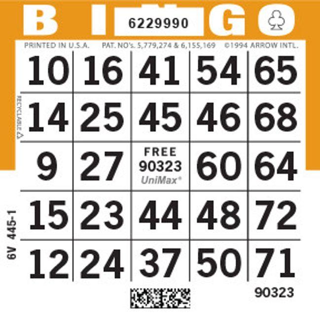 UniMax 1ON Orange CMYK Bingo Paper/UniMax Cuts/1ON Cuts