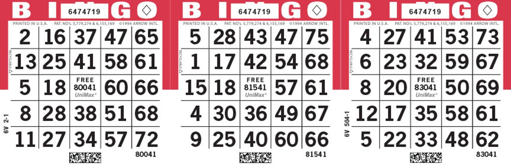 UniMax 3H Red CMYK Bingo Paper/UniMax Cuts/3H Cuts