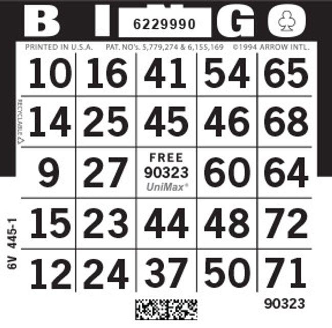 UniMax 1ON Black CMYK Bingo Paper/UniMax Cuts/1ON Cuts