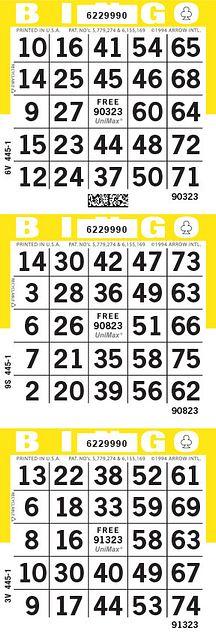 UniMax 3V Yellow CMYK Bingo Paper/UniMax Cuts/3V Cuts