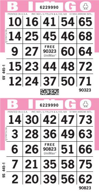 UniMax 2V Pink CMYK Bingo Paper/UniMax Cuts/2V Cuts