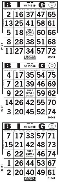 UniMax Slim Black Line CMYK Bingo Paper/UniMax Cuts/3V Cuts
