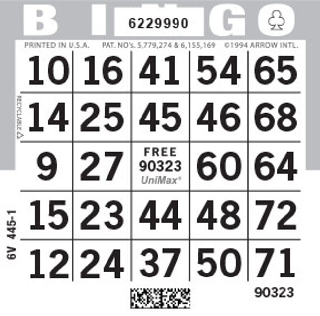 UniMax 1ON Gray CMYK Bingo Paper/UniMax Cuts/1ON Cuts