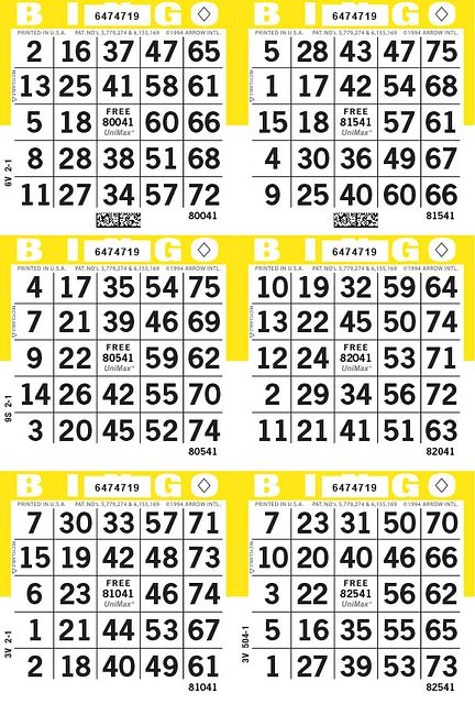UniMax 6V Yellow CMYK Bingo Paper/UniMax Cuts/6V Cuts