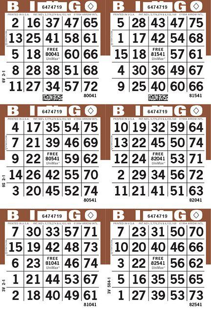 UniMax 6V Brown CMYK Bingo Paper/UniMax Cuts/6V Cuts