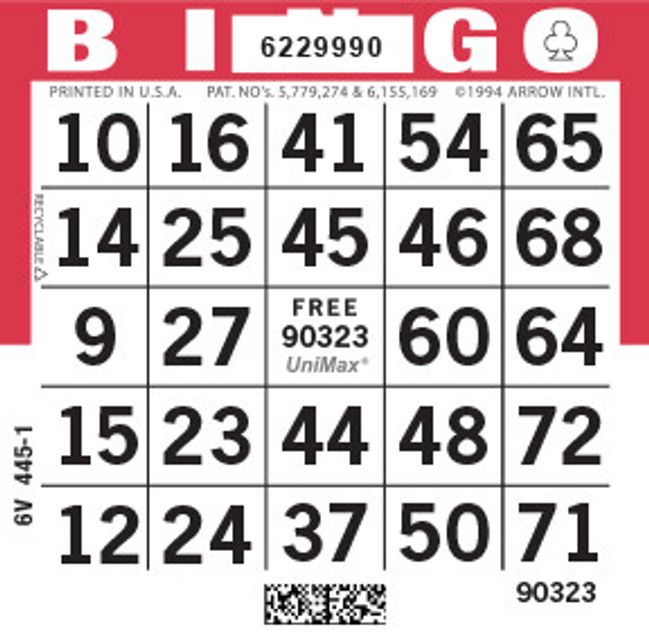 UniMax 1ON Red CMYK Bingo Paper/UniMax Cuts/1ON Cuts