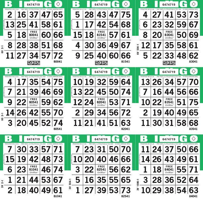 UniMax 9S Green CMYK Bingo Paper/UniMax Cuts/9S Cuts