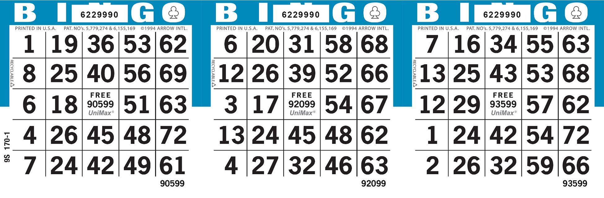 UniMax 3H3 Blue CMKY Bingo Paper/UniMax Cuts/3H Cuts