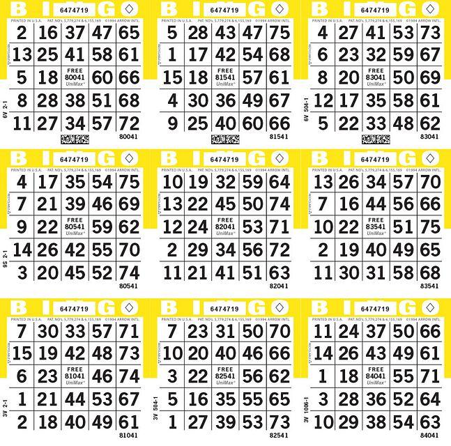 UniMax 9S Yellow CMYK Bingo Paper/UniMax Cuts/9S Cuts