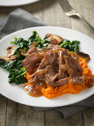 Beef Pot Roast with Maple Sweet Potatoes and Cider Gravy