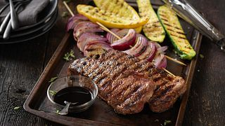 Beef Strip Steaks with Grilled Balsamic Vegetables