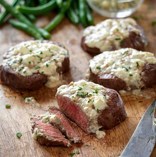 Beef Tenderloin Steaks with Blue Cheese Topping Vertical