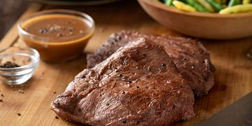 Flat Iron Steaks with Balsamic Pepper Sauce