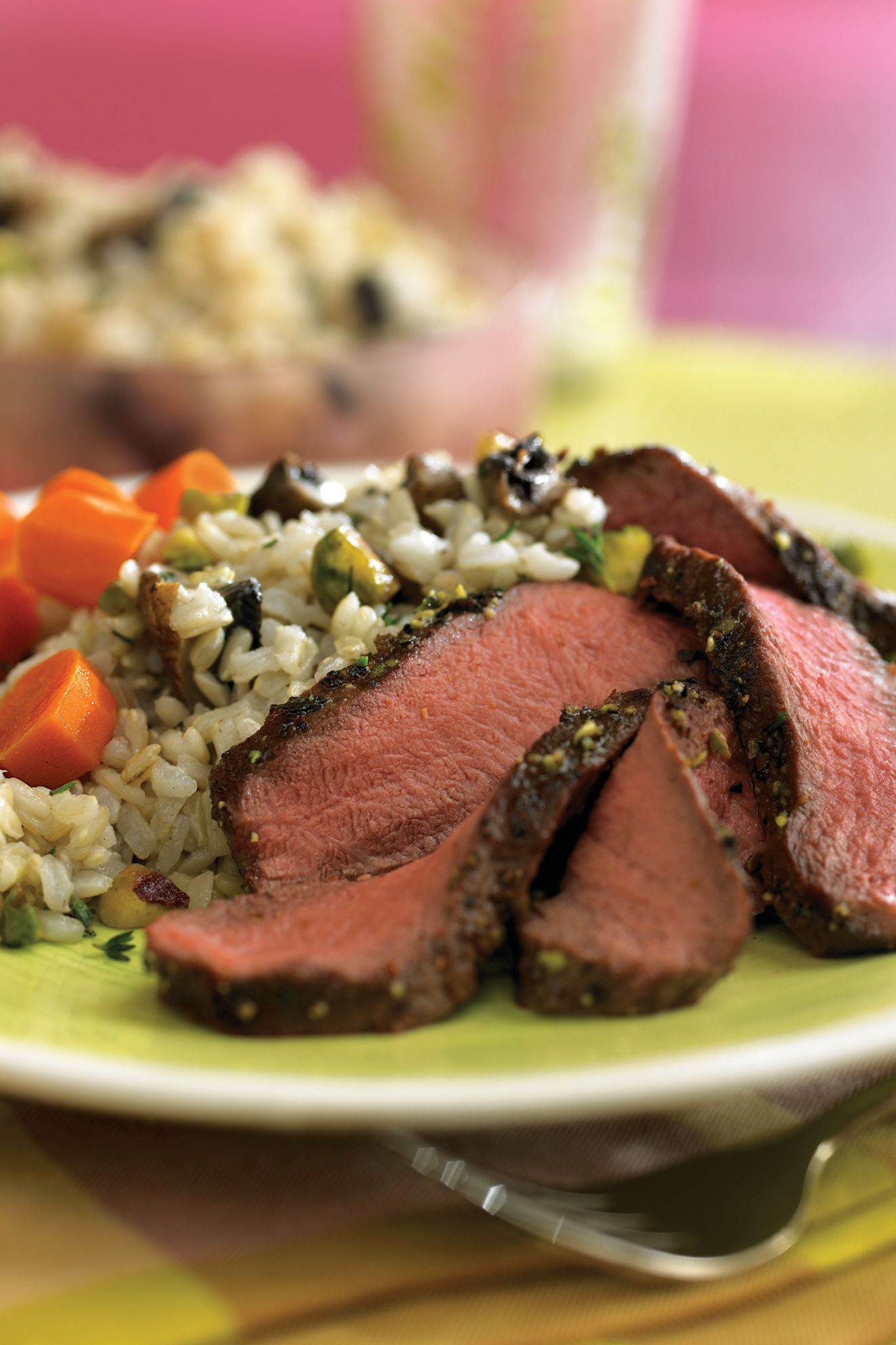 Grilled Flat Iron Steaks with Pistachio-Mushroom Rice