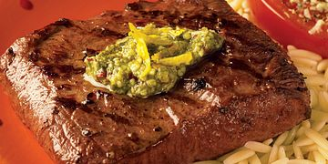 Spicy Lemon Pesto Flat Iron Steaks