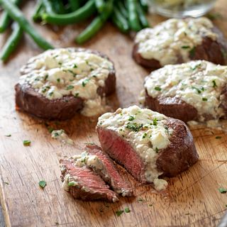 Beef Tenderloin Steaks with Blue Cheese Topping Horizontal