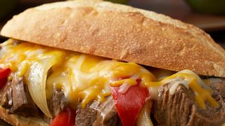 Sweet Onion & Pepper Beef Sandwiches with Au Jus