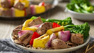 Steak and Vegetable Kabobs with Wild Rice