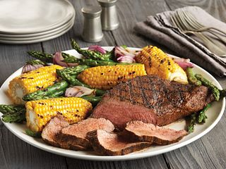 Lemon-Garlic Grilled Beef Tri-Tip Roast with Vegetables