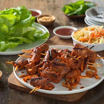 Korean Flat Iron Steak and Onion Lettuce Wraps